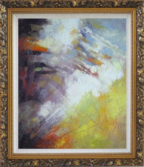 Framed Turbulence Oil Painting Nonobjective Impressionism Ornate Antique Dark Gold Wood Frame 30 x 26 Inches