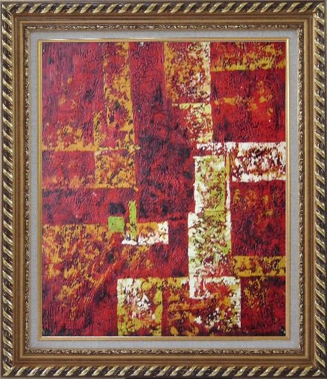 Framed Red and Yellow Abstract Oil Painting Nonobjective Modern Exquisite Gold Wood Frame 30 x 26 Inches