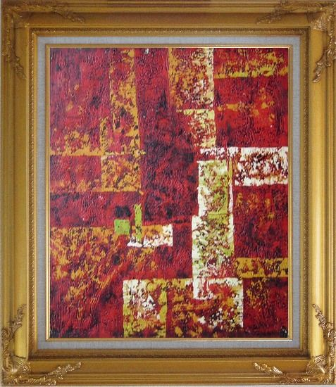 Framed Red and Yellow Abstract Oil Painting Nonobjective Modern Gold Wood Frame with Deco Corners 31 x 27 Inches