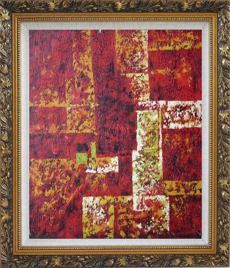 Framed Red and Yellow Abstract Oil Painting Nonobjective Modern Ornate Antique Dark Gold Wood Frame 30 x 26 Inches