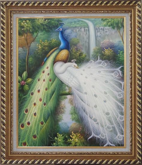 Framed Blue and White Peacocks, Tree, Waterfall Oil Painting Animal Naturalism Exquisite Gold Wood Frame 30 x 26 Inches