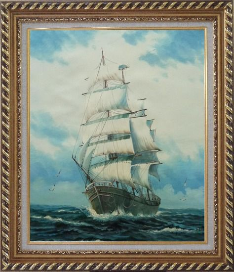 Framed Sailing Ship's Oceangoing Voyage Oil Painting Boat Classic Exquisite Gold Wood Frame 30 x 26 Inches