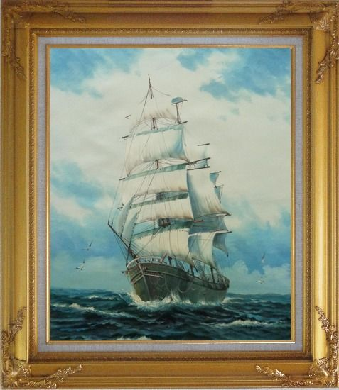 Framed Sailing Ship's Oceangoing Voyage Oil Painting Boat Classic Gold Wood Frame with Deco Corners 31 x 27 Inches
