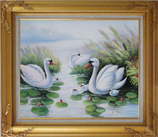 Framed Swan Family on Waterlily Pond Oil Painting Animal Naturalism Gold Wood Frame with Deco Corners 27 x 31 Inches