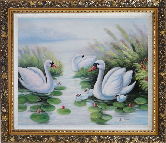 Framed Swan Family on Waterlily Pond Oil Painting Animal Naturalism Ornate Antique Dark Gold Wood Frame 26 x 30 Inches