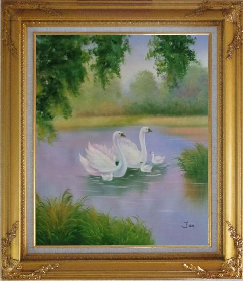 Framed White Swans in Beautiful Lake Oil Painting Animal Classic Gold Wood Frame with Deco Corners 31 x 27 Inches
