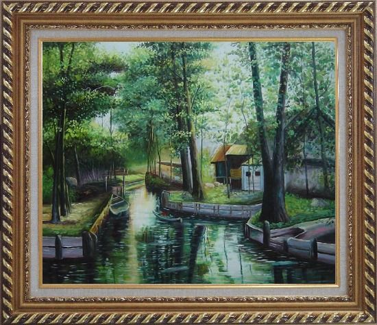 Framed Lady on a Wooden Boat in Quiet Rural Stream Oil Painting Village Classic Exquisite Gold Wood Frame 26 x 30 Inches