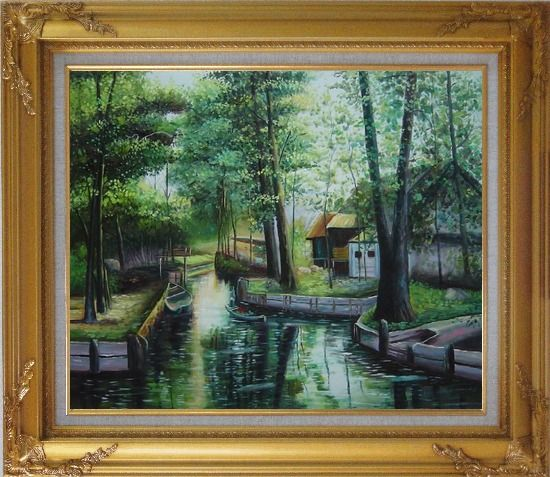 Framed Lady on a Wooden Boat in Quiet Rural Stream Oil Painting Village Classic Gold Wood Frame with Deco Corners 27 x 31 Inches