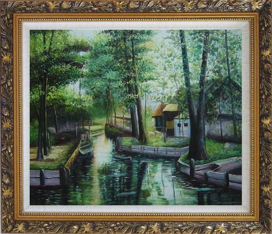 Framed Lady on a Wooden Boat in Quiet Rural Stream Oil Painting Village Classic Ornate Antique Dark Gold Wood Frame 26 x 30 Inches