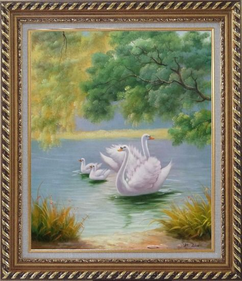 Framed White Swan Family in Beautiful Lake Oil Painting Animal Classic Exquisite Gold Wood Frame 30 x 26 Inches