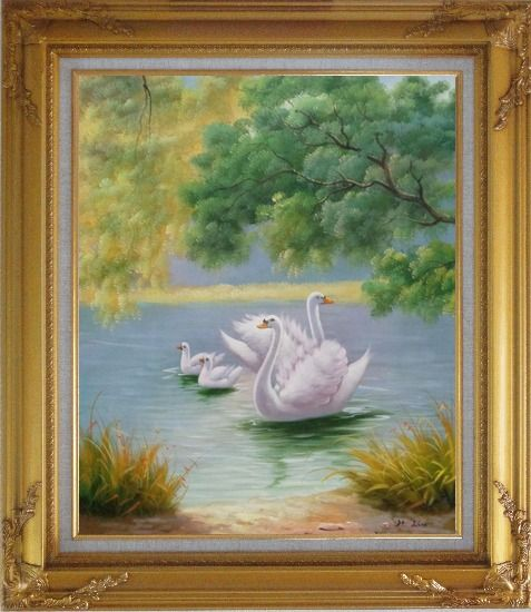 Framed White Swan Family in Beautiful Lake Oil Painting Animal Classic Gold Wood Frame with Deco Corners 31 x 27 Inches