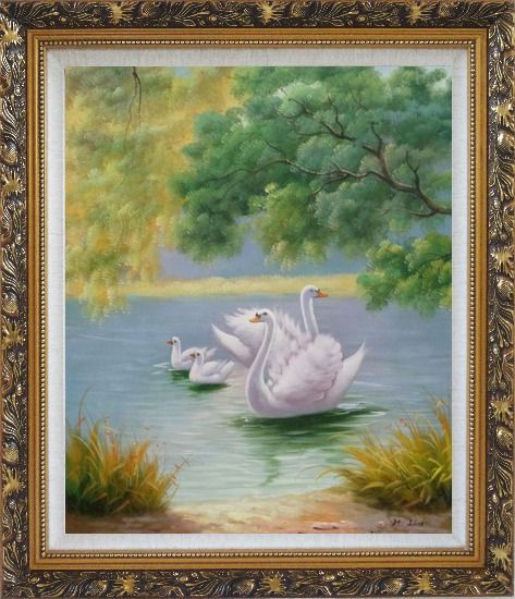 Framed White Swan Family in Beautiful Lake Oil Painting Animal Classic Ornate Antique Dark Gold Wood Frame 30 x 26 Inches