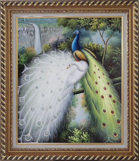 Framed Colorful Peacocks Staying in a Tree with Waterfall Oil Painting Animal Naturalism Exquisite Gold Wood Frame 30 x 26 Inches