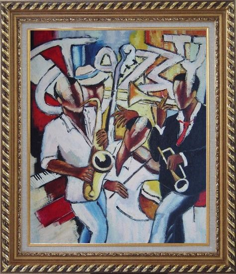 Framed The joy of Performing Oil Painting Portraits Musician Modern Exquisite Gold Wood Frame 30 x 26 Inches