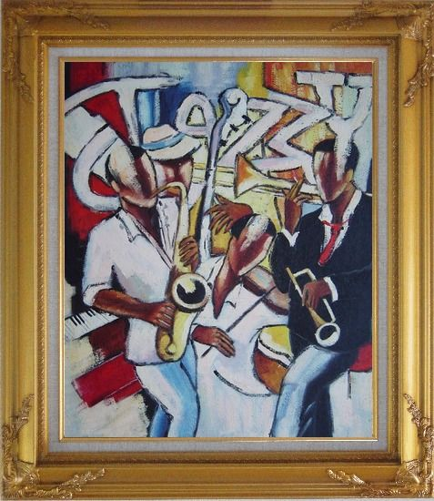 Framed The joy of Performing Oil Painting Portraits Musician Modern Gold Wood Frame with Deco Corners 31 x 27 Inches