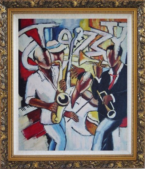 Framed The joy of Performing Oil Painting Portraits Musician Modern Ornate Antique Dark Gold Wood Frame 30 x 26 Inches