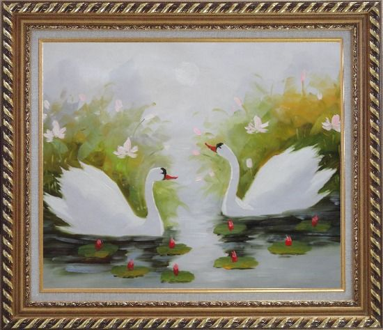 Framed Pair of Swans Enjoys Happy Time in Beautiful Lily Pond Oil Painting Animal Naturalism Exquisite Gold Wood Frame 26 x 30 Inches
