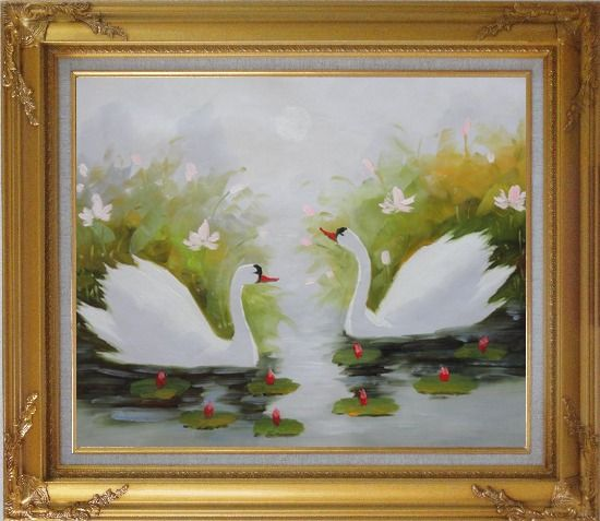 Framed Pair of Swans Enjoys Happy Time in Beautiful Lily Pond Oil Painting Animal Naturalism Gold Wood Frame with Deco Corners 27 x 31 Inches