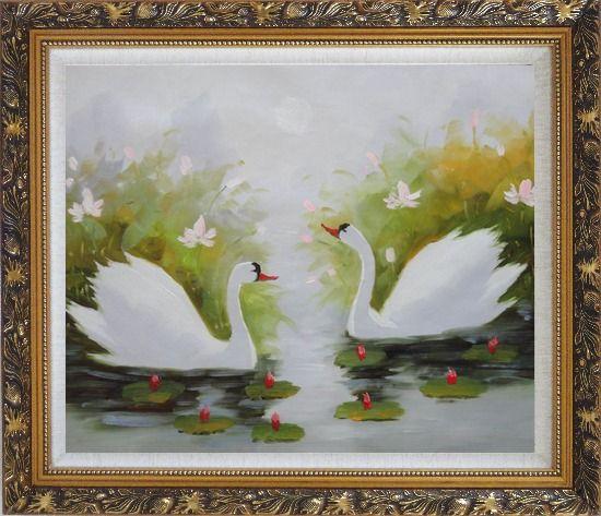 Framed Pair of Swans Enjoys Happy Time in Beautiful Lily Pond Oil Painting Animal Naturalism Ornate Antique Dark Gold Wood Frame 26 x 30 Inches
