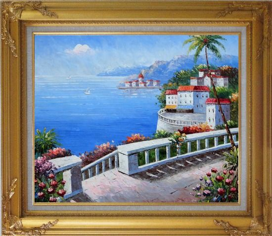Framed Mediterranean Colorful Garden Oil Painting Naturalism Gold Wood Frame with Deco Corners 27 x 31 Inches