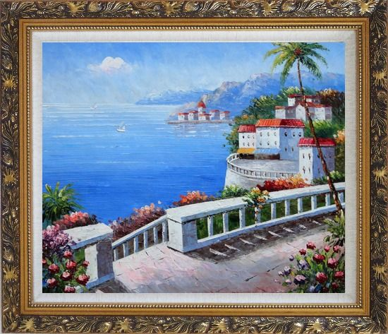 Framed Mediterranean Colorful Garden Oil Painting Naturalism Ornate Antique Dark Gold Wood Frame 26 x 30 Inches