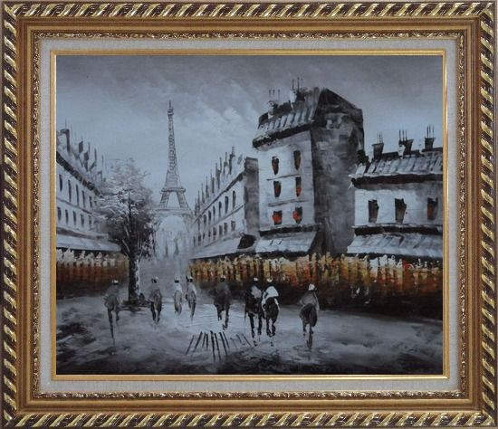 Framed Paris Street with Eiffel Tower in Black and White Oil Painting Cityscape Impressionism Exquisite Gold Wood Frame 26 x 30 Inches
