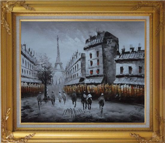 Framed Paris Street with Eiffel Tower in Black and White Oil Painting Cityscape Impressionism Gold Wood Frame with Deco Corners 27 x 31 Inches