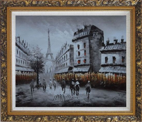 Framed Paris Street with Eiffel Tower in Black and White Oil Painting Cityscape Impressionism Ornate Antique Dark Gold Wood Frame 26 x 30 Inches