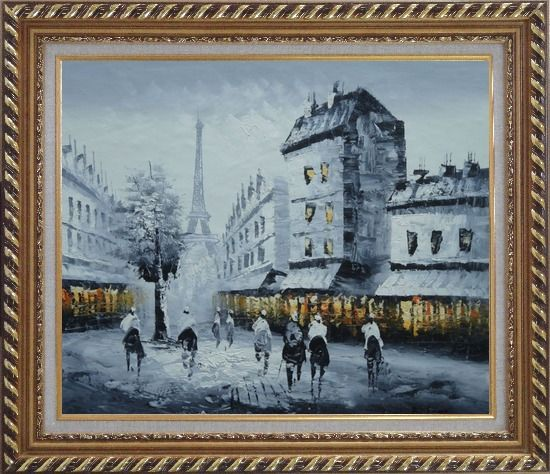 Framed Paris Street to Eiffel Tower in Black, White and Yellow Oil Painting Cityscape Impressionism Exquisite Gold Wood Frame 26 x 30 Inches