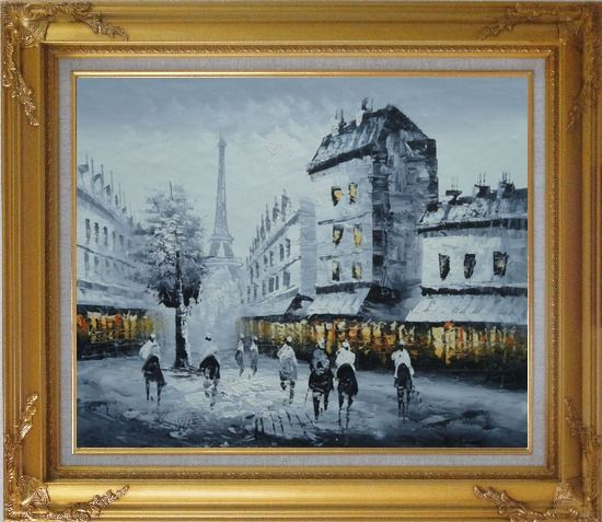 Framed Paris Street to Eiffel Tower in Black, White and Yellow Oil Painting Cityscape Impressionism Gold Wood Frame with Deco Corners 27 x 31 Inches
