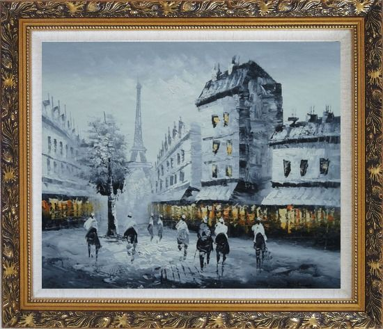 Framed Paris Street to Eiffel Tower in Black, White and Yellow Oil Painting Cityscape Impressionism Ornate Antique Dark Gold Wood Frame 26 x 30 Inches