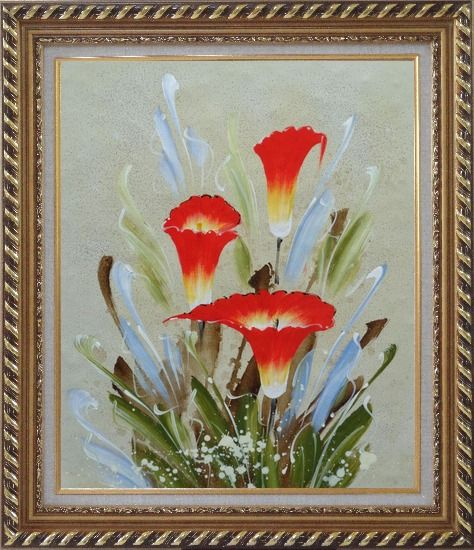 Framed Scarlet Calla Lily Oil Painting Flower Decorative Exquisite Gold Wood Frame 30 x 26 Inches
