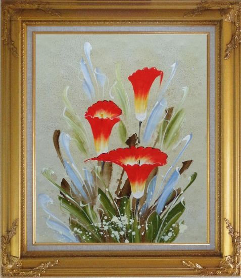 Framed Scarlet Calla Lily Oil Painting Flower Decorative Gold Wood Frame with Deco Corners 31 x 27 Inches