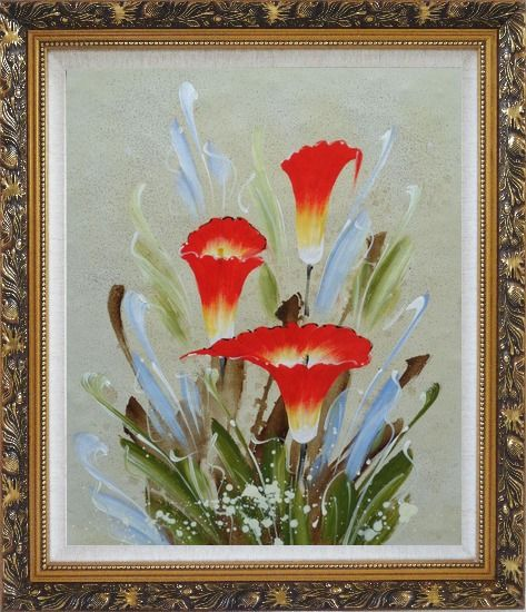 Framed Scarlet Calla Lily Oil Painting Flower Decorative Ornate Antique Dark Gold Wood Frame 30 x 26 Inches