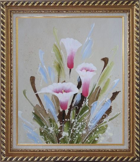 Framed Joyful Pink Calla Lily Oil Painting Flower Decorative Exquisite Gold Wood Frame 30 x 26 Inches