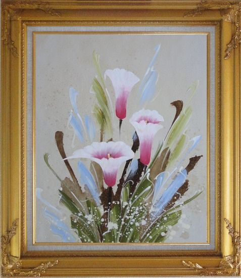 Framed Joyful Pink Calla Lily Oil Painting Flower Decorative Gold Wood Frame with Deco Corners 31 x 27 Inches