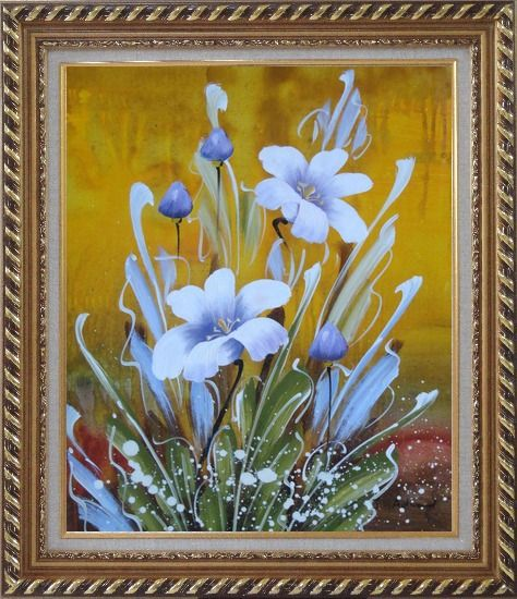 Framed Happy Joyful Spring Song Oil Painting Flower Tulip Decorative Exquisite Gold Wood Frame 30 x 26 Inches