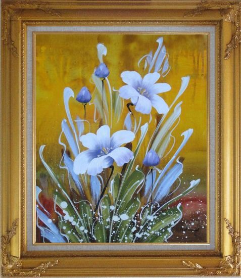 Framed Happy Joyful Spring Song Oil Painting Flower Tulip Decorative Gold Wood Frame with Deco Corners 31 x 27 Inches