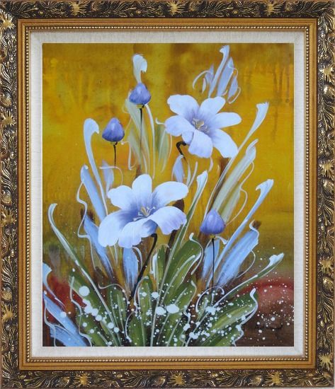Framed Happy Joyful Spring Song Oil Painting Flower Tulip Decorative Ornate Antique Dark Gold Wood Frame 30 x 26 Inches