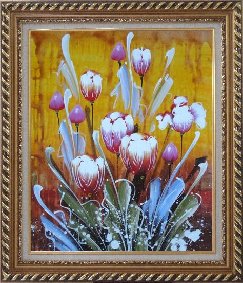Framed Beautiful Blooming Tulips Oil Painting Flower Decorative Exquisite Gold Wood Frame 30 x 26 Inches