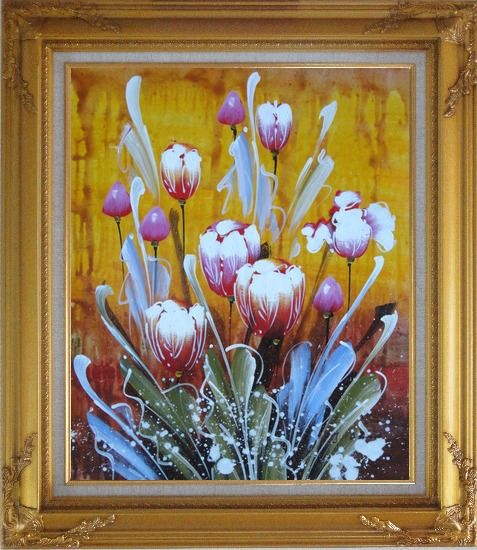 Framed Beautiful Blooming Tulips Oil Painting Flower Decorative Gold Wood Frame with Deco Corners 31 x 27 Inches