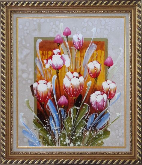 Framed Decorative Colorful Tulips Oil Painting Flower  Exquisite Gold Wood Frame 30 x 26 Inches