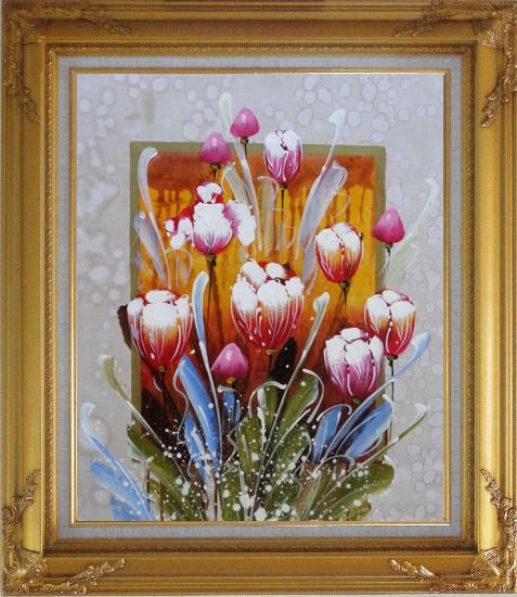 Framed Decorative Colorful Tulips Oil Painting Flower  Gold Wood Frame with Deco Corners 31 x 27 Inches