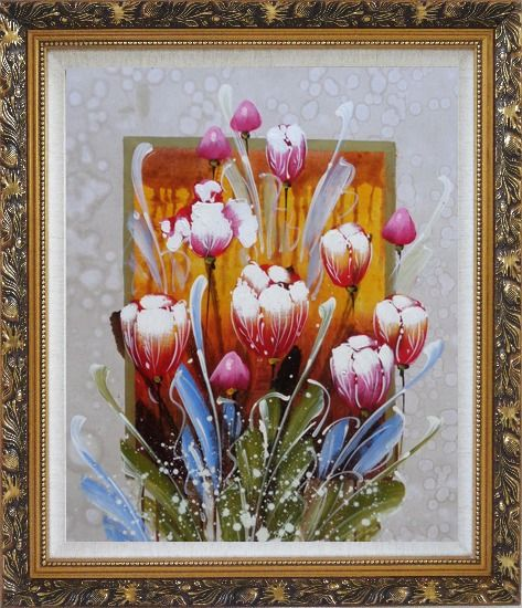Framed Decorative Colorful Tulips Oil Painting Flower  Ornate Antique Dark Gold Wood Frame 30 x 26 Inches