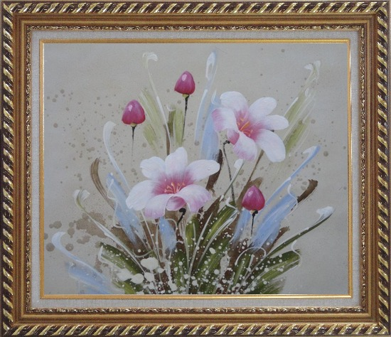 Framed Light Purple Flowers Oil Painting Tulip Decorative Exquisite Gold Wood Frame 26 x 30 Inches