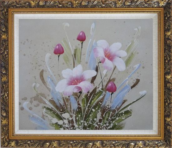 Framed Light Purple Flowers Oil Painting Tulip Decorative Ornate Antique Dark Gold Wood Frame 26 x 30 Inches